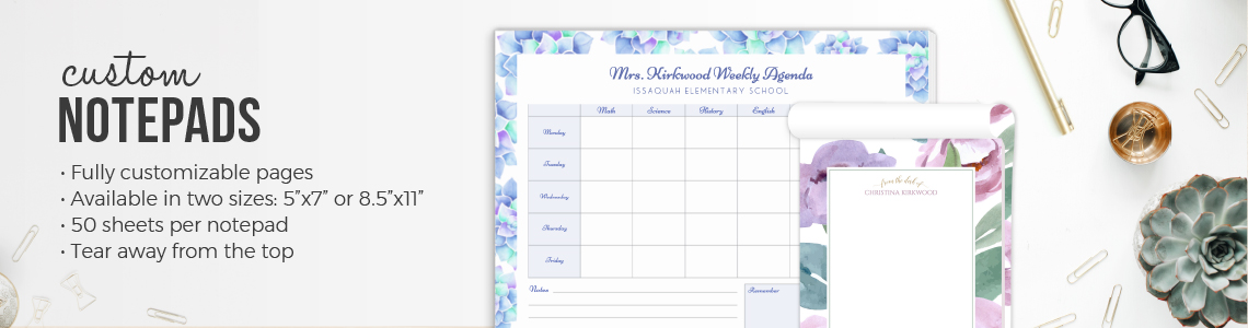 Notepads, Custom Notepads, Writing Pads, Personalized Notepads