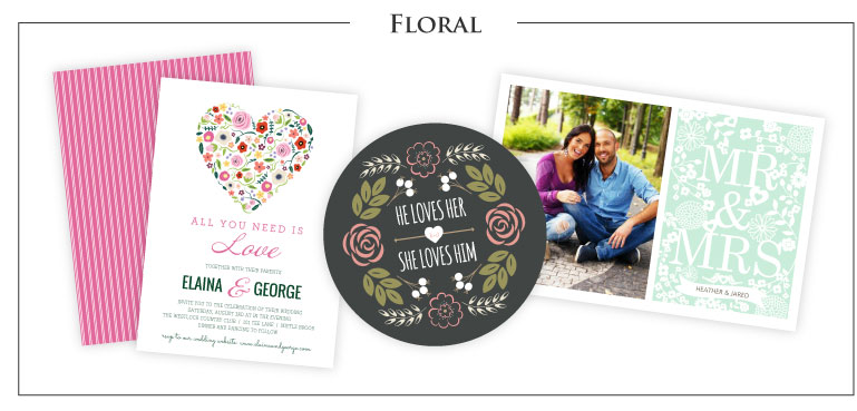 Floral Theme Wedding Invitations