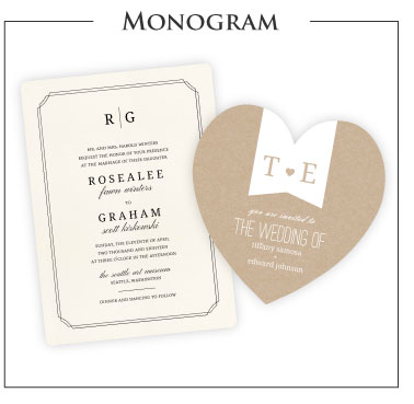 Monogram Theme Wedding Invitations