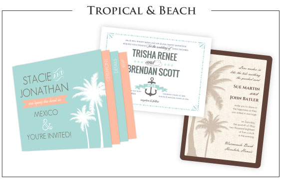 Tropical Wedding & Beach Wedding Invitations