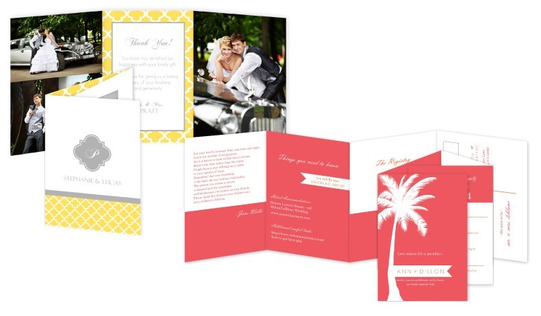 Tri fold and accordion wedding cards